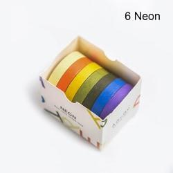 7 st / parti Pappersdekaler Washi Tapes DIY Sticker 6 NEON