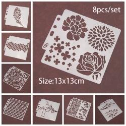 8st / uppsättning Layering Stencils Scrapbooking Målningsmall Blomma