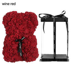 Artificial Decor Rose Bear Flower WINE RED