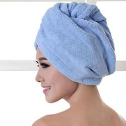 Hair Dry Hat Hair Drying Towel Shower Cap BLUE