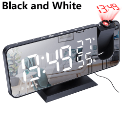 LED Digital Radio Alarm Clock BLACK AND WHITE