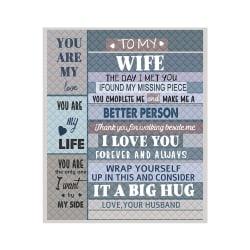 Letter Blanket Plush Fleece Blanket Husband To My Wife