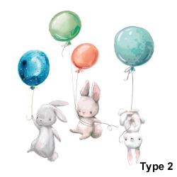 Kaninballongväggklistermärken Tecknade kanindekaler TYP 2
