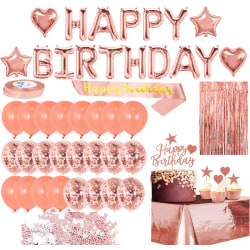 Rose Gold Confetti Balloon Set Aluminum Foil Happy Birthday