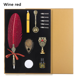 Wax Seal Stamp Kit Feather Quill Pen and Ink Set WINE RED wine red