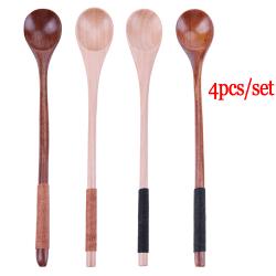 Wooden Spoons Tea Scoops Long-handled 4PCS/SET