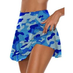 Dam Camo Sportshorts Gym Yoga Workout Mini Kjol Klänning Blue,M
