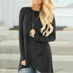 Kvinnor långärmad tunika toppar Pullover oregelbunden blus Black,XL