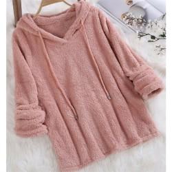 Kvinnors Fleece Lounge Tops Huvtröja Jumper Nightwear Dark Pink,3XL