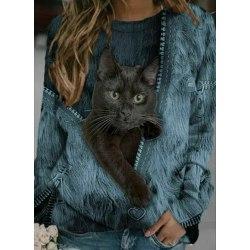 Kvinnors katt T-shirtblus långärmad tröja Blue,L