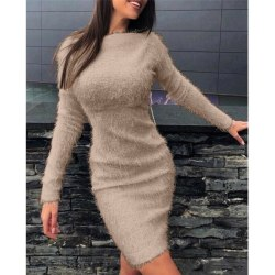 Kvinnors långärmade Bodycon miniklänning damklänningar Khaki,M