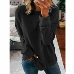 Kvinnors långärmade toppar tröja T-shirtblus Black,XXL