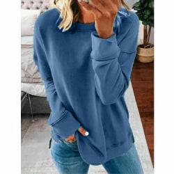 Kvinnors långärmade toppar tröja T-shirtblus Blue,XXL