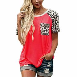 T-shirt för damer, avslappnade, lösa korta ärmar Red,L