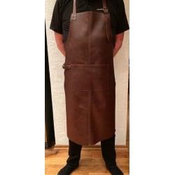 Mörkbrunt svensktillverkat skinnförkläde