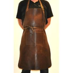 Tumlat svensktillverkat skinnförkläde i äkta läder