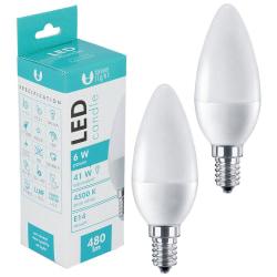 2-Pack LED-Lampa E14 C37 6W 480lm (4500k) Neutral Vit Kron Vit