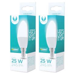 2-Pack LED-Lampa E14 G45 3W 4500K 245lm Vit neutral Vit