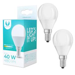 2-Pack LED-Lampa E14, G45 6W 4500K 480lm Vit neutral Vit