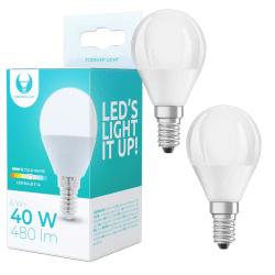 2-Pack LED-Lampa E14 G45 6W (6000K) 480lm, Kallvit Vit