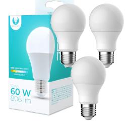 3-Pack LED-Lampa E27 10W 806lm (4500k) Neutral Vit Vit