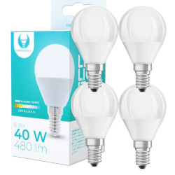 4-Pack LED-Lampa E14 6W 480lm (3000k) Varm Vit Vit