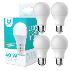 4-Pack LED-Lampa E27 6W 480lm (4500k) Neutral Vit Vit