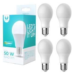 4-Pack LED-Lampa E27 8W 640lm (3000k) Varm Vit A60 Vit