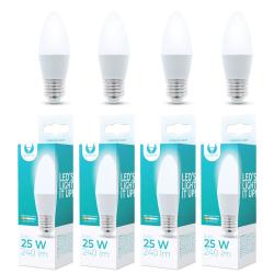 4-Pack LED Lampa E27, C37 3W 3000k 240LM Varmvit Vit