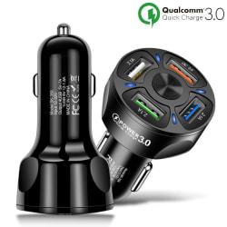 Billaddare 4-Portar 18W Quick Charge 3.0 iPhone/Android - Svart Vit
