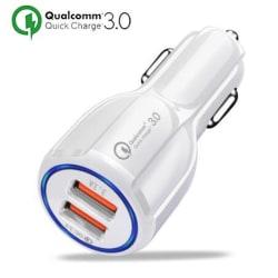 Billaddare Universal 35W Quick Charge 3.0 iPhone/Android - Vit Vit