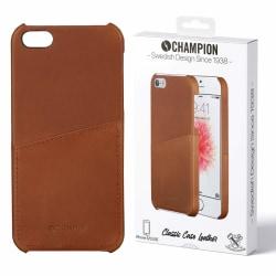Champion Äkta Läder iPhone 5/5S/SE Skal kortförvaring Brun