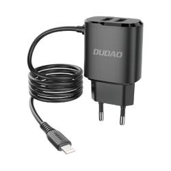 Dudao® Laddare iPhone 12, 11, XS, 8, 7, 6, iPad  + X2 USB 12W Svart
