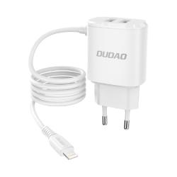 Dudao® Laddare iPhone 12, 11, XS, 8, 7, 6, iPad  + X2 USB 12W Vit
