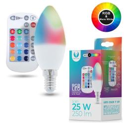 Forever™ RBG LED-lampa inkl. fjärrkontroll Dimbar - E14 5W A+ Vit
