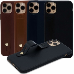 Läderskal med ringhållare till iPhone 11 Pro Mörkbrun