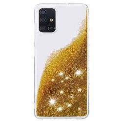 Liquid Glitter Skal för Samsung Galaxy A51 - Guld Guld