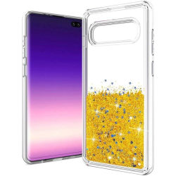 Liquid Glitter Skal för Samsung Galaxy S10+ Plus - Guld Guld