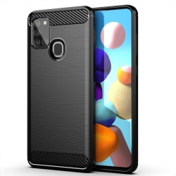 Samsung Galaxy A21s Exklusivt Stöttåligt Skal - Kolfiber Svart