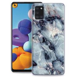 Samsung Galaxy A21s Skin Skydd för baksidan - Blå Marmor Transparent