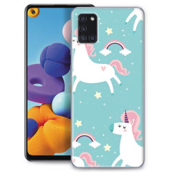 Samsung Galaxy A21s Skin Skydd för baksidan - Unicorns Transparent