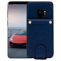 Samsung Galaxy S9 Plånboksfodral Fodral - Äkta läder - Blå Blå
