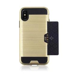 Skal till iPhone XR med kortförvaring - Guld Guld