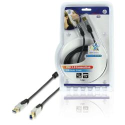USB 3.0-Kabel A-hane - B-hane Rund Svart