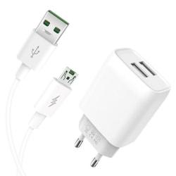 XO™ Micro-USB Väggladdare för Samsung/Sony/Huawei 2.4A 1M Vit