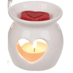 Aromalampa hjärta, Vit med rött hjärta