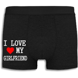 Boxershorts - I Love My Girlfriend med rött hjärta svart L