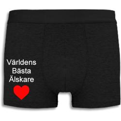 Boxershorts - Världens Bästa Älskare med rött hjärta svart L