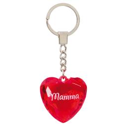 Nyckelring, Diamond heart - Mamma röd