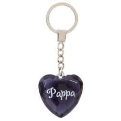 Nyckelring, Diamond heart - Pappa svart